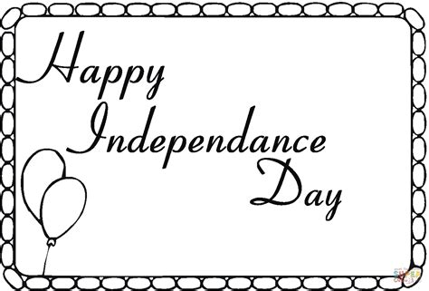 coloring pages of independence day of india independence day card with balloons coloring online