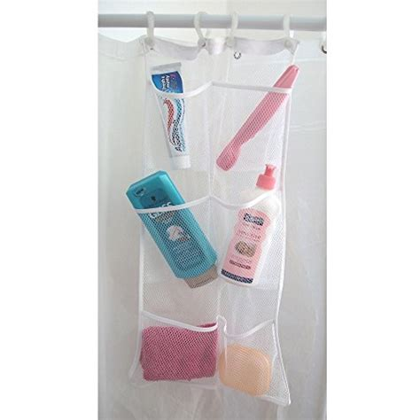 portable shower curtain hanb mesh shower caddy organizer hang on shower curtain