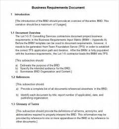 Business Requirement Templates by Sle Business Requirements Document 6 Free Documents