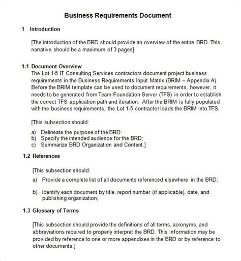 documents template sle business requirements document 6 free documents