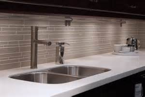 random subway linear glass tile for a kitchen