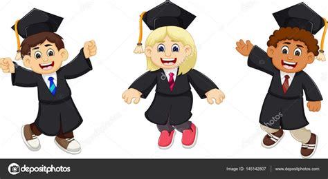 imagenes niños graduacion de dibujos animados divertido tres graduados archivo