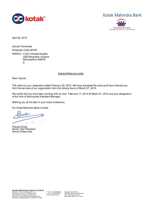 Contract Employee Relieving Letter Format Relieving Letter 48108