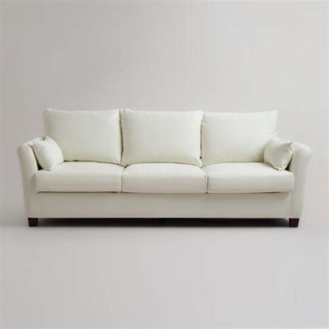 canvas sofa slipcover ivory luxe three seat sofa canvas slipcover world market
