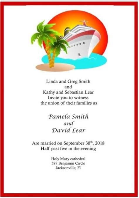 cruise ship wedding invitation. enjoy the high seas of
