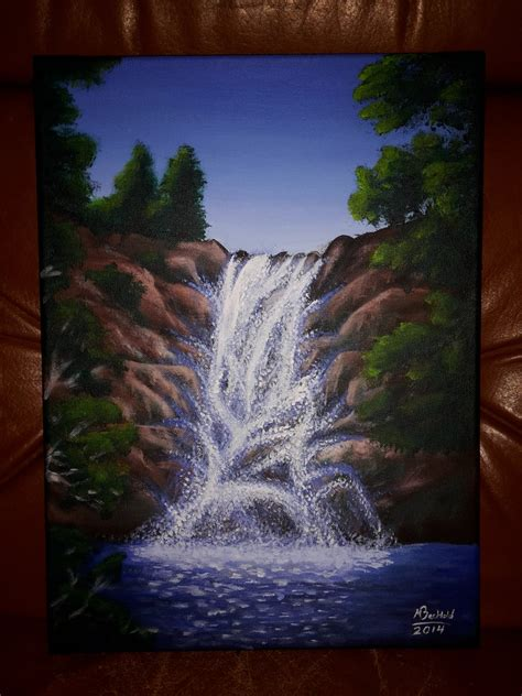 acrylic painting waterfalls acrylic landscape waterfall painting realistic by