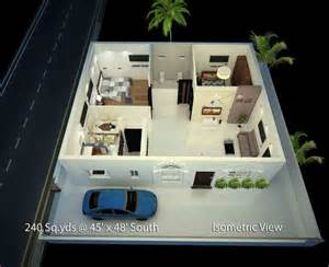 Best 2 Bhk House Plan 240 Sq Yds 45x48 Sq Ft South Face House 2bhk Isometric 3d