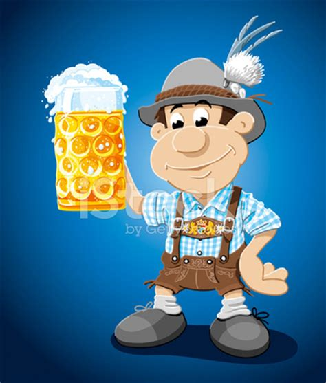beer stein lederhosen cartoon man stock vector