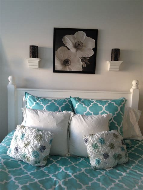 black white and teal in my room bedroom design