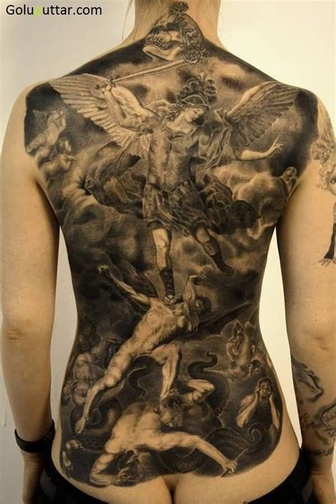angel tattoo at the back 3d angel tattoos