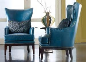 Blue leather wing back chairs for the home pinterest