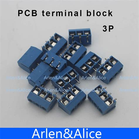 aliexpress buy 100 pcs 3 pin blue pcb terminal
