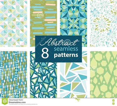 abstract patterns arrows seamless pattern stock set of 8 vector abstract shapes green blue repeat seamless