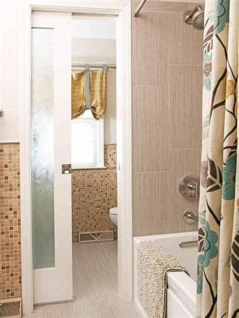 Storage Packed Bathroom Remodel Pocket Doors With Glass Inserts