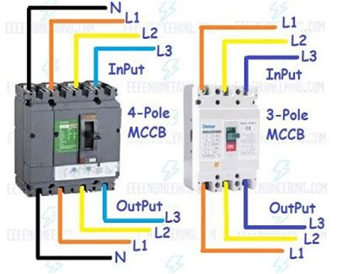 wire mccb circuit breakers  pole   pole