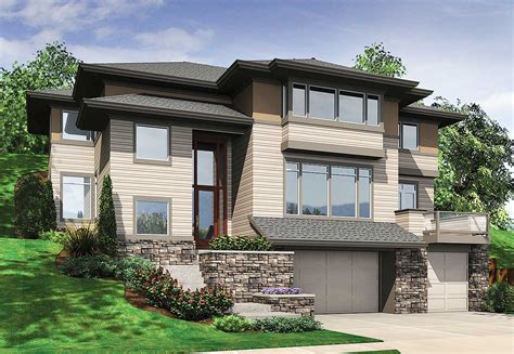 hillside house plans with drive under garage hillside house plan for hillside views 69453am 2nd floor master