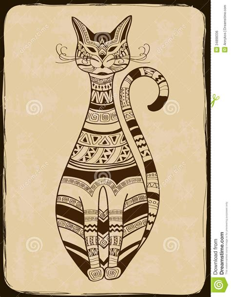 vintage images illustration with ethnic patterned cat royalty free stock