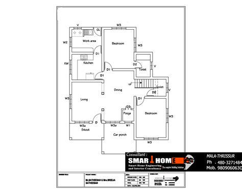 kerala house floor plans two floor 3 bedrooms house design at 1610 sq ft kerala thrissur