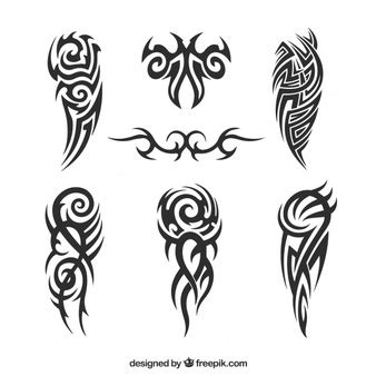 set of tribal abstract tattoos vector free download tribal tattoos set vector free download