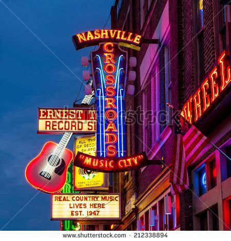nashville light district nashville august 1 neon signs on stock photo royalty free