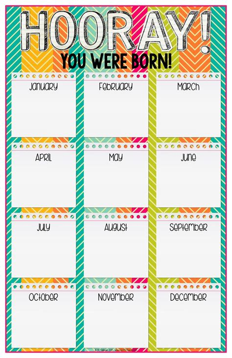 birthday chart template for classroom classroom birthday chart template popcorn birthday chart