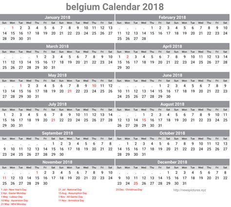 Calendar 2018 Belgium Belgium Holidays Calendar 2018 2018 Calendar Printable