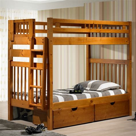 tall loft bed tall mission style solid wood bunk bed in honey finish