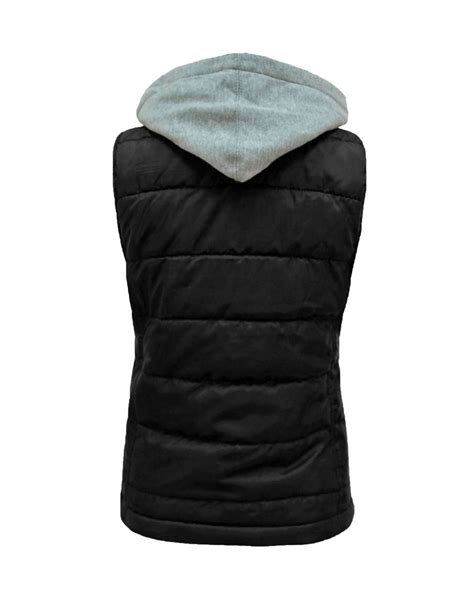 hooded padded vest quilted padded sleeveless gilet hooded womens vest