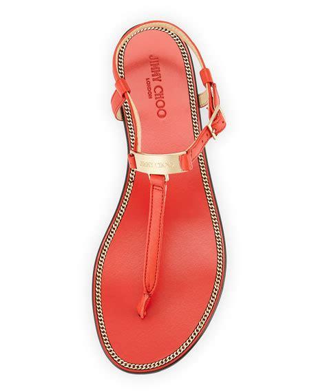 Sandal Flat Wave jimmy choo wave leather sandal