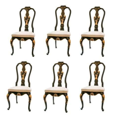 set of 6 black lacquer dining chairs at 1stdibs set of six baker knapp and tubbs black lacquer chinese