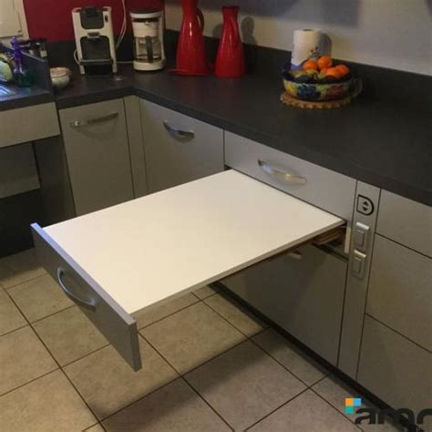 table cuisine escamotable tiroir accessoires cuisine pmr amrconcept