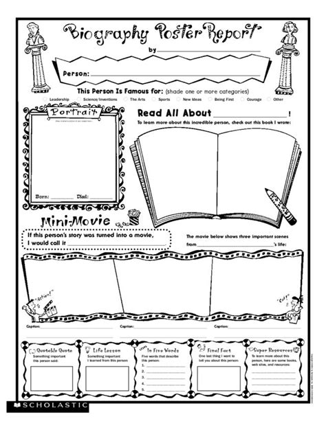 biography worksheet for elementary students biography book report form elementary
