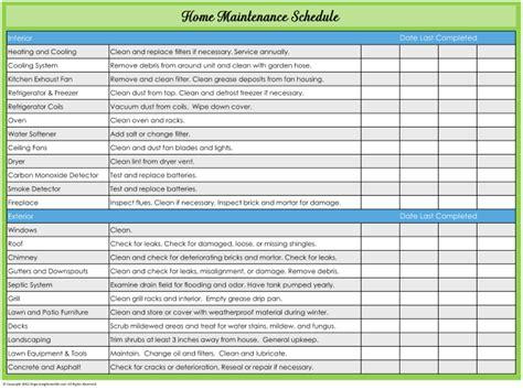 home maintenance plans image gallery maintenance charts