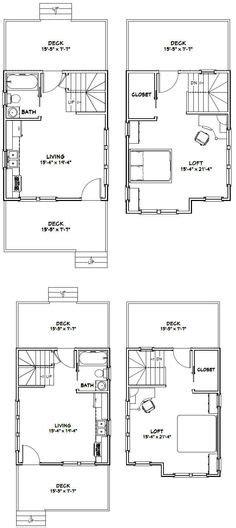 16x28 1 Bedroom 1 Bath Tiny Houses 448 Sq от Tiny House Plans 16x20
