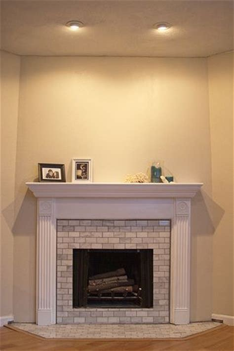 diy show subway tile fireplace fireplaces and white