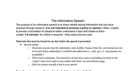 Factual Speech Outline by Informative Speech Outline Template Docs