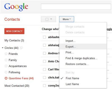 how to backup and export email contacts from gmail, yahoo