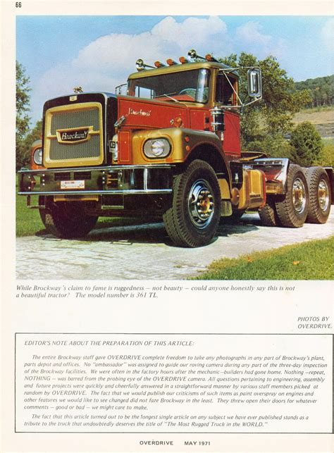 most rugged truck photo may 1971 brockway the most rugged truck in the world 30 05 overdrive magazine may 1971