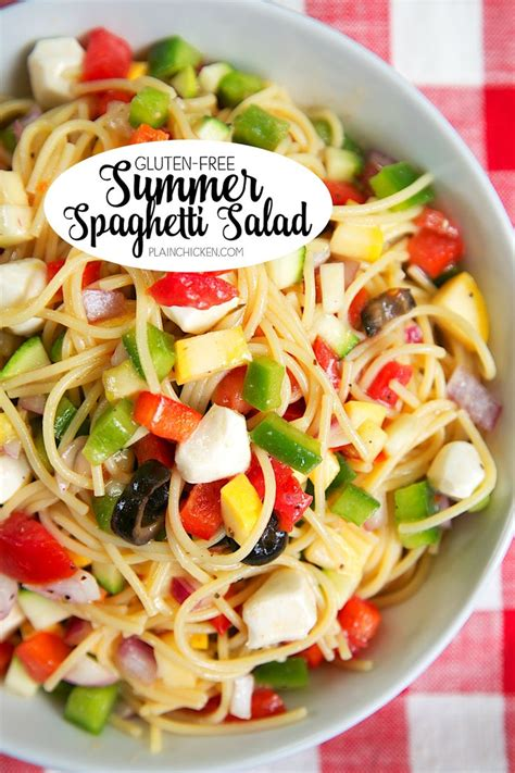pasta salad with spaghetti noodles gluten free summer spaghetti salad summer onions and