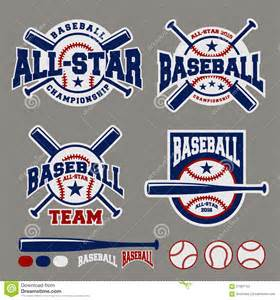 set of baseball sport badge logo design template stock