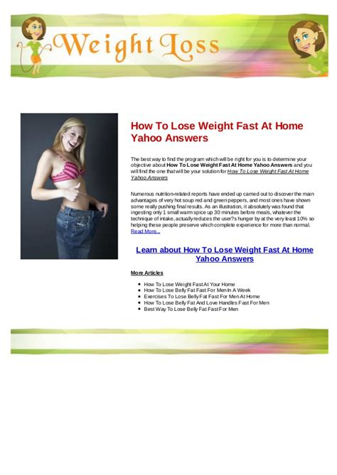 how to lose weight fast at home yahoo answers