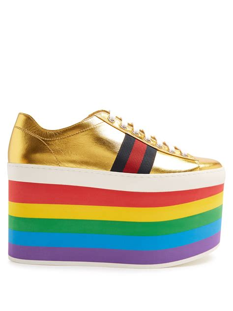 Slip On Gucci Flat Shoes Gucci Wedges Gucci De41 Go Murah peggy low top rainbow platform trainers by gucci shoes