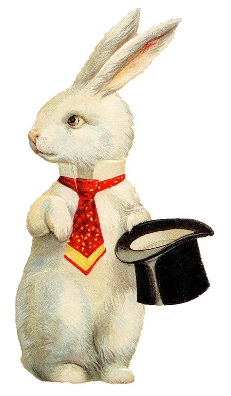 Top Rabbit With Hat vintage easter image white rabbit with hat the