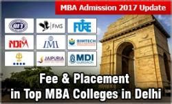 Delhi Mba Colleges List With Fees by Mba Admission 2017 Fee Placement In Top Mba Colleges In