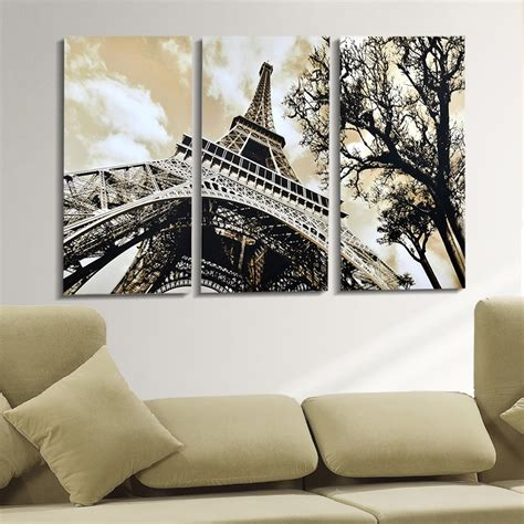 wall decor eiffel tower free shipping canvas painting 3 panels wall the eiffel