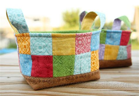 Patchwork Basket - patchwork baskets great idea for giving food presents