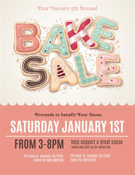 Vector Bake Sale Poster Design 01 Vector Cover Free Download Bake Sale Flyer Template
