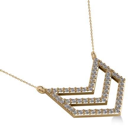 chevron trapeze pendant necklace 14k yellow gold 0