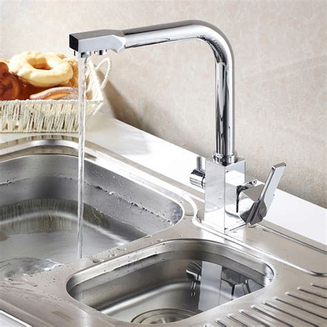 two function spout kitchen sink faucet with water