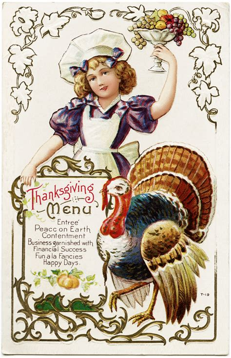 Thanksgiving Free Clip Vintage by Free Vintage Thanksgiving Menu Postcard Design Shop